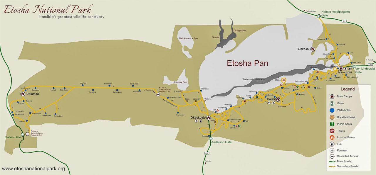 26.-30.7. Etosha NP - Halali -> Okaukuejo -> Dolomite