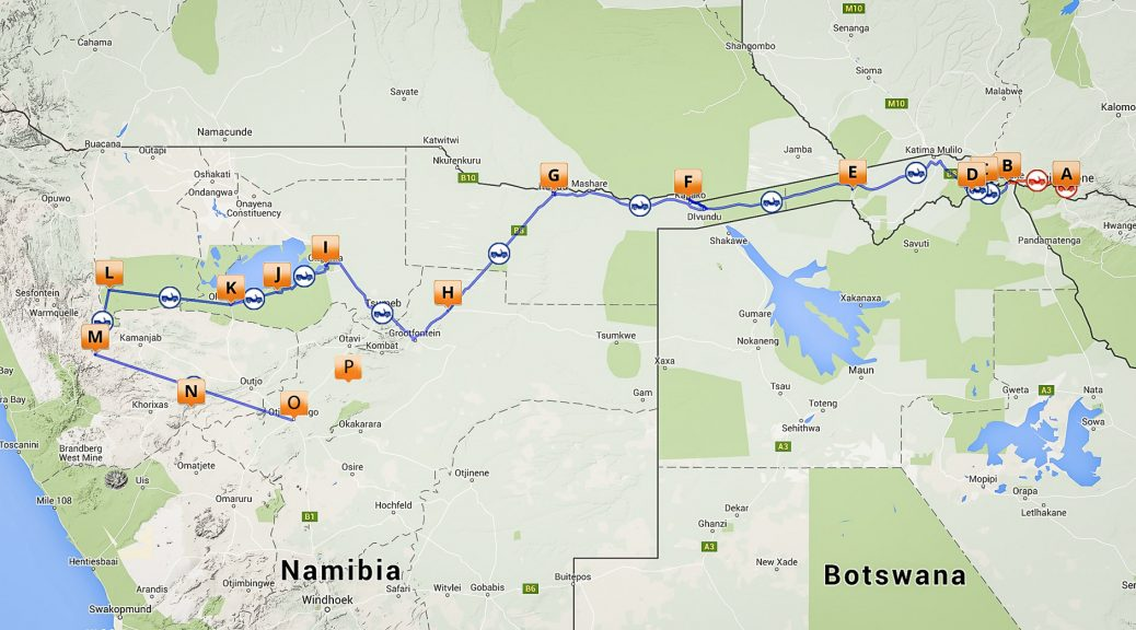 12.7.-9.8. Victoria Falls, Chobe, Caprivi, Etosha, Damaraland, Kambaku