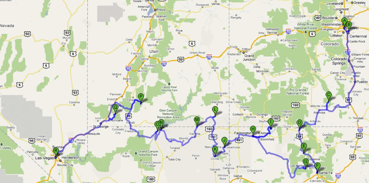 17.7.-14.8., Denver - Las Vegas. © Google 2010