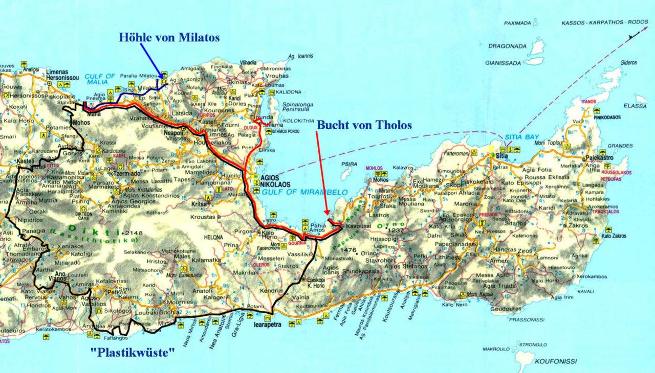 Ausflüge an die Südküste, nach Tholos, Milatos, Agios Nikolaos.