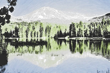 Crayon Painting: Manzanita Lake