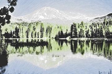 Crayon Painting: Manzanita Lake