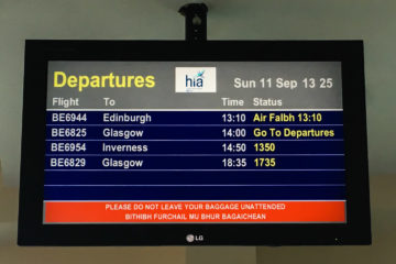 11.9.2016 - Stornoway: 3 Flüge mittags, 4 abends