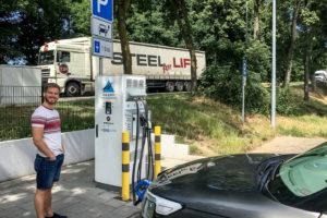 5.6.2017 - mit dem KIA nach Siegen: Nach 110 km Ladestopp Siegburg West