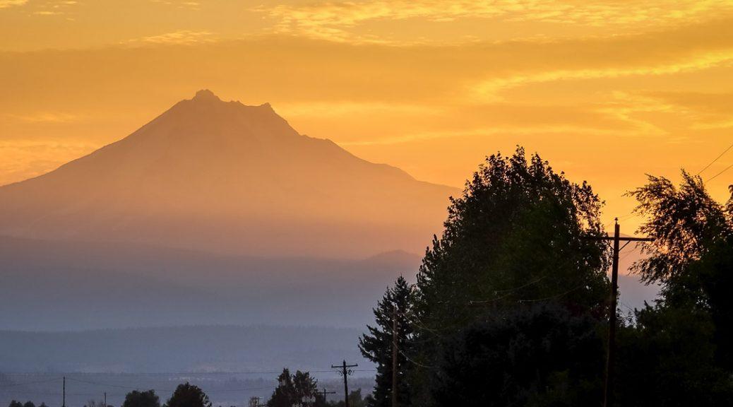 20.8.2017 - Anreise zur Eclipse. Mt. Jefferson, 50km Luftlinie