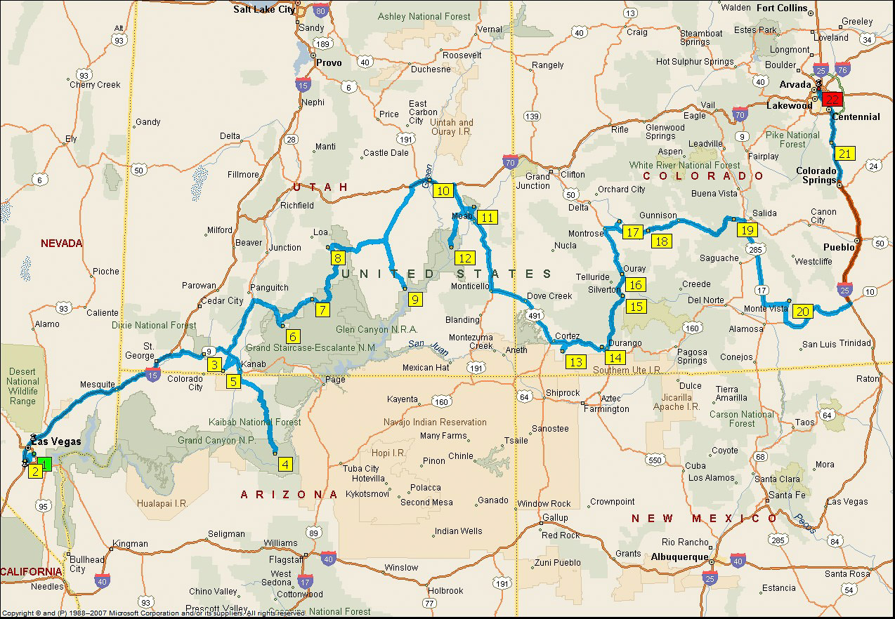 29.6.-26.7.: Las Vegas - Denver. (c) Microsoft