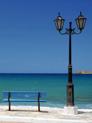 Das Meer, die Bank ... in der Mirabello-Bucht.