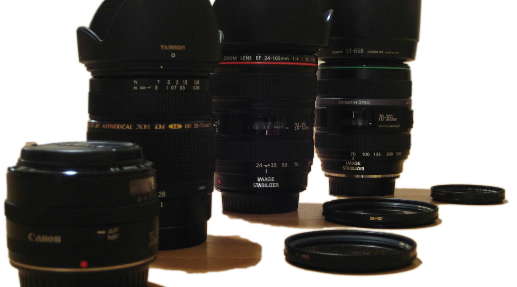 Canon 35/2, Tamron 28-75, Canon 24-105 L und Canon 70-300 DO