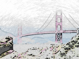 Crayon Painting: Golden Gate Bridge