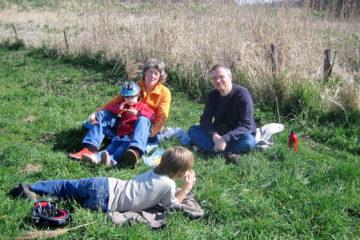 Picknick an der deutsch-niederländischen Grenze.