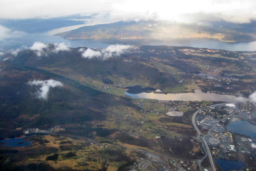 Anflug auf Bergen: schönes Wetter winkt :-)