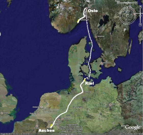 Mit dem Auto bis Kiel, dann die Nachtfähre nach Oslo, ...