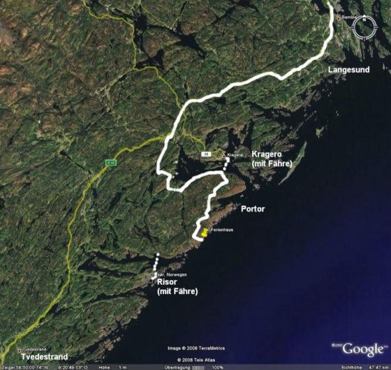 ... und dann noch 3 Stunden bis zu unserem Ferienhaus, zwischen Kragerø und Risør.