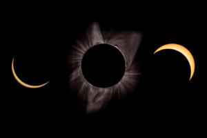 21.8.2017 - Eclipse in Madras. Um 8:40 noch unbedeckt, die Abdeckung von 9:10 bis 11:40