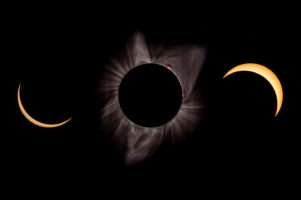 21.8.2018 - Eclipse in Madras. Um 8:40 noch unbedeckt, die Abdeckung von 9:10 bis 11:40